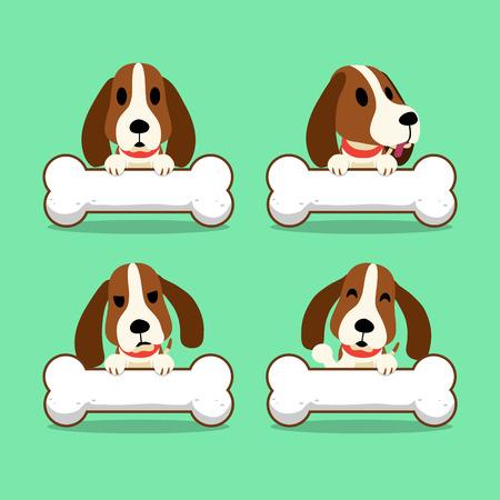 Cartoon Charakter Hund Hund mit großen Knochen Standard-Bild - 62855029