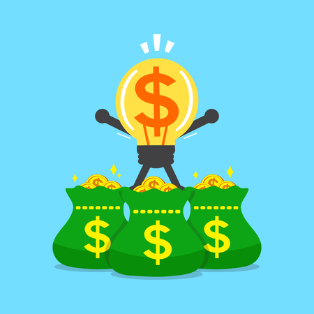 competitions: Cartoon big idea character and money bags Illustration