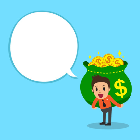 costs: Businessman and money bag with white speech bubble Illustration