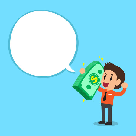 costs: Businessman carrying big money stack with white speech bubble Illustration