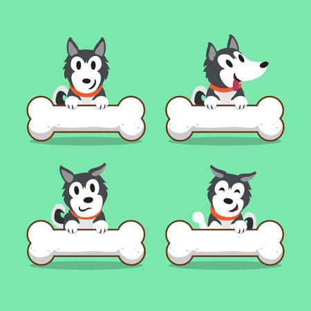 siberian husky: Cartoon character Siberian husky dog with big bones