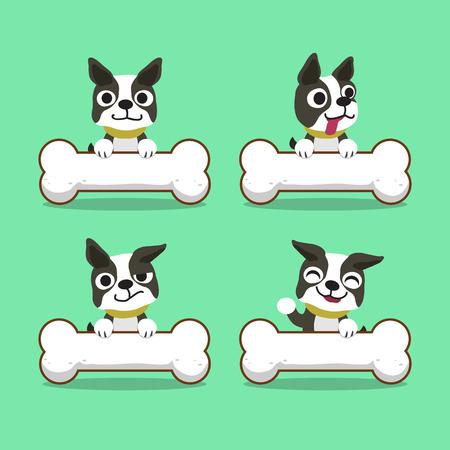 Cartoon character boston terrier dog with big bones