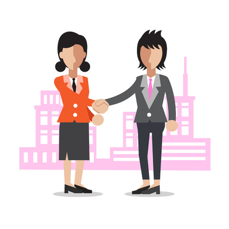 Cartoon two businesswomen shaking hands Illustration