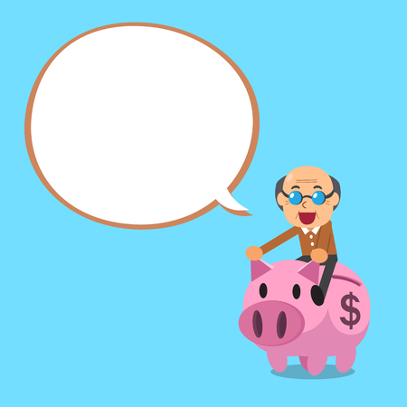 passive earnings: Senior man riding pink piggy bank with white speech bubble
