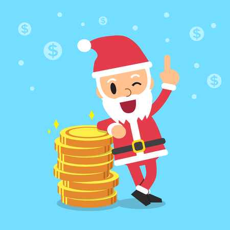 coin stack: Santa claus with money coin stack Illustration