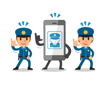 active content: Cartoon smartphone and policemen Illustration
