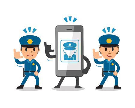 Cartoon smartphone and policemen Illustration
