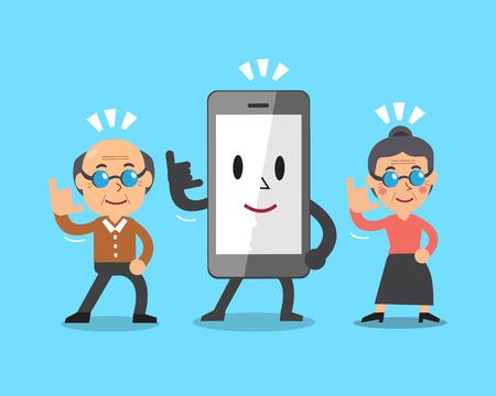 woman cellphone: Cartoon smartphone and senior people