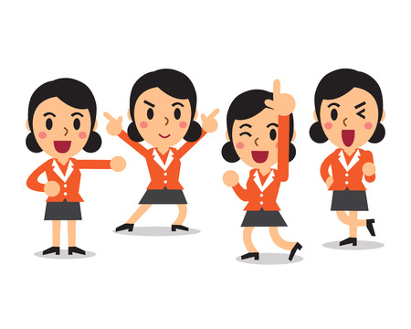 poses: Cartoon businesswoman character poses set