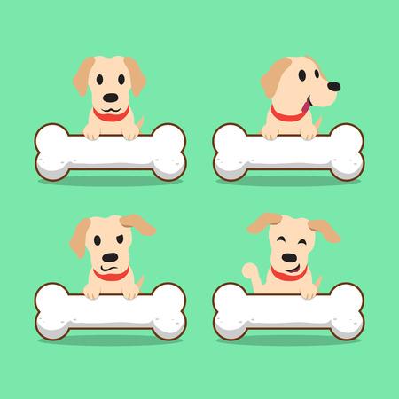 labrador: Cartoon character labrador dog with big bones Illustration