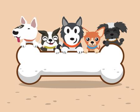 honden cartoon met grote bot Stock Illustratie