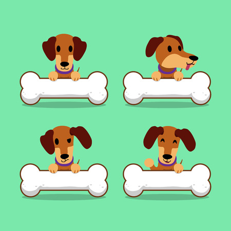 Cartoon character brown dachshund dog with big bones Illustration