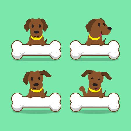 labrador: Cartoon character brown labrador dog with big bones