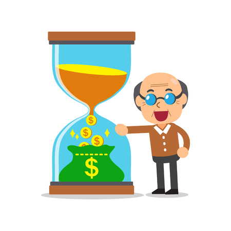 convert: Business concept convert time to money with senior man