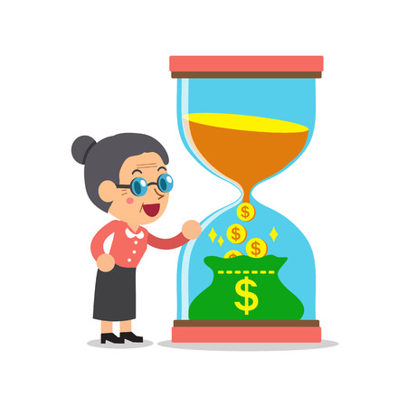 convert: Business concept convert time to money with senior woman