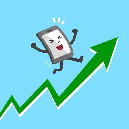 Cartoon smartphone character with green arrow