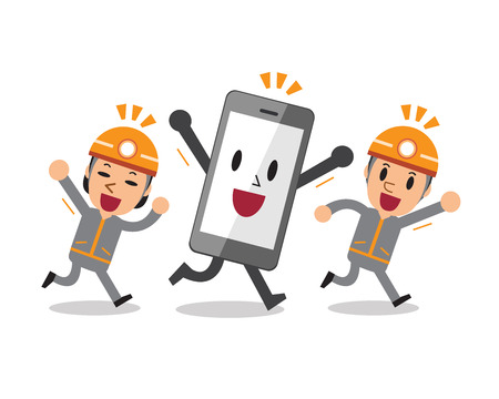 Cartoon smartphone with technicians