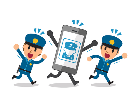 thieves: Cartoon smartphone and thieves