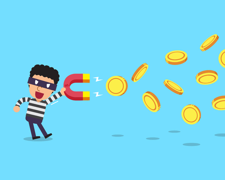 Cartoon thief using a magnet to attracts money