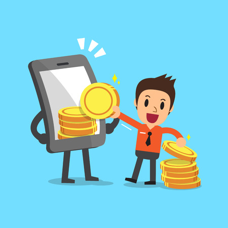 business deal: Business concept cartoon smartphone help businessman to earn money