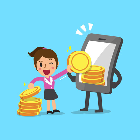 earn: Business concept cartoon smartphone help businesswoman to earn money