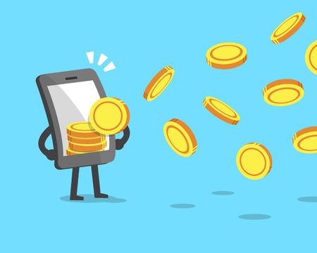 attracting: Cartoon smartphone attracting money coins