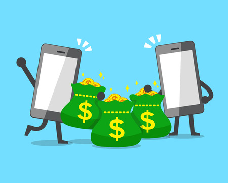 Cartoon smartphones and money bags Illustration