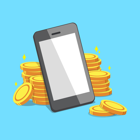 Smartphone and money coins Illustration