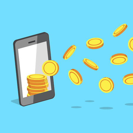 Smartphone attracting money coins