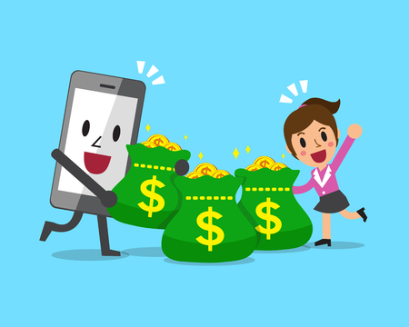 Smartphone character and businesswoman with money bags Illustration