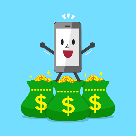 Smartphone character and money bags