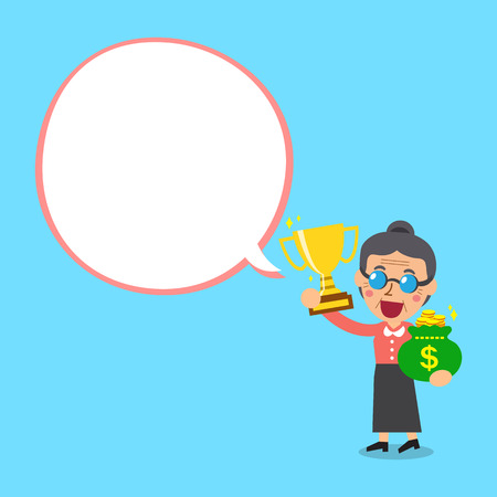 woman holding bag: Senior woman holding trophy and money bag with white speech bubble
