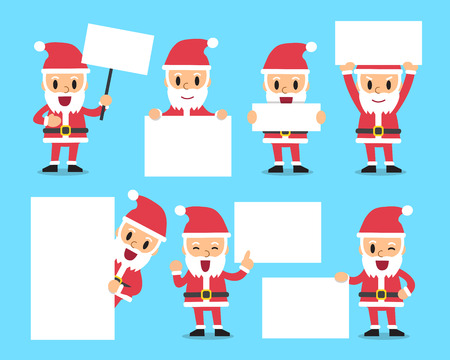 blank poster: Set of santa claus with blank white banner Illustration