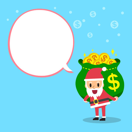 Cartoon santa claus carrying money bag with white speech bubble Illustration