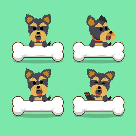 Cartoon Charakter Yorkshire Terrier Hund mit großen Knochen Standard-Bild - 65705465
