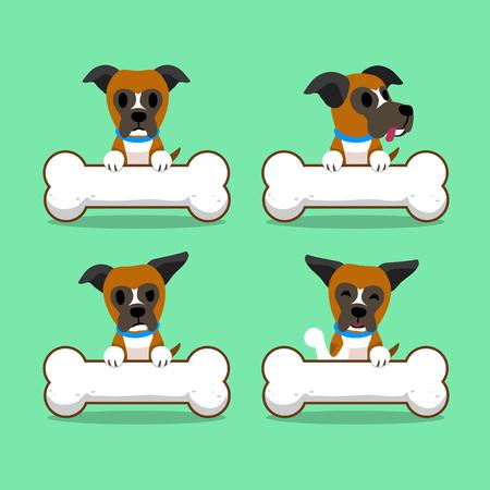 boxer dog: Cartoon character boxer dog with big bones