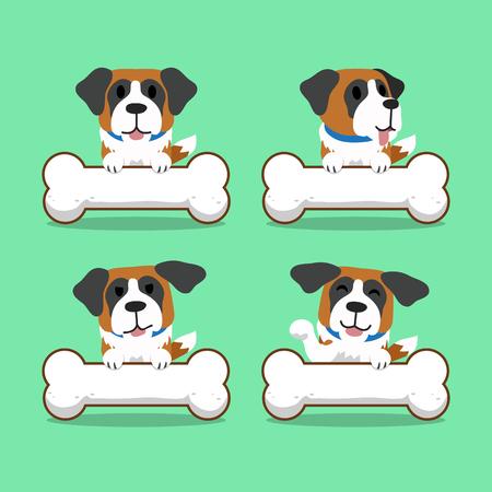 saint bernard: Cartoon character saint bernard dog with big bones