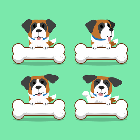bernard: Cartoon character saint bernard dog with big bones