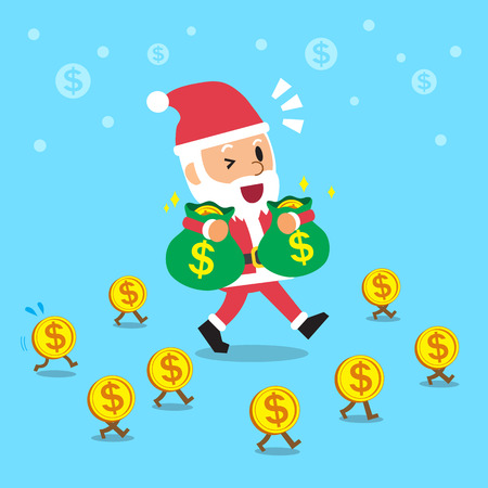 money bags: Santa claus carrying money bags and walking with money coins Illustration
