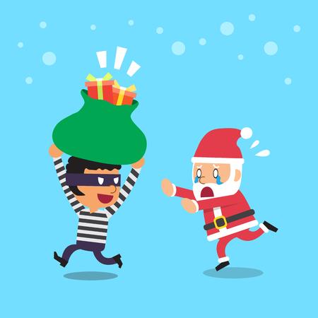 Cartoon a santa claus and thief