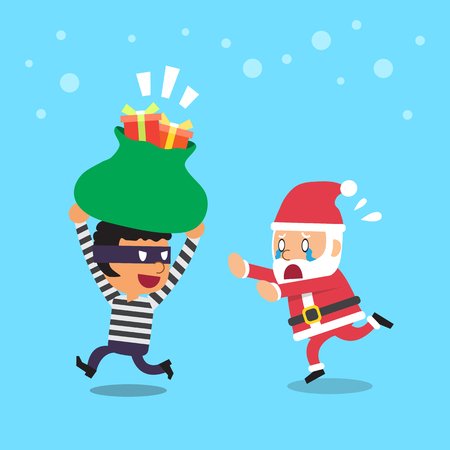 Cartoon a santa claus and thief