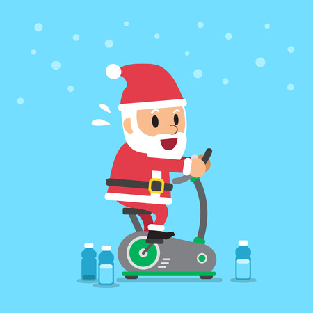 Cartoon santa claus riding exercise bike