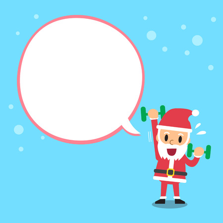 Santa claus doing dumbbell exercise with white speech bubble Illustration