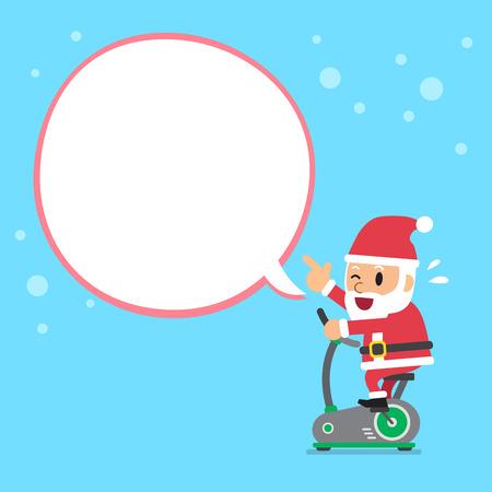 白い吹き出しと漫画サンタ クロース乗馬エクササイズ バイク  イラスト・ベクター素材