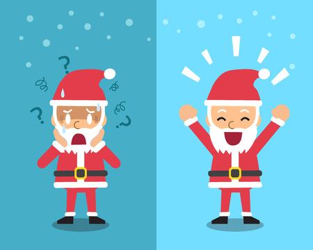 expressing: Cartoon santa claus expressing different emotions Illustration