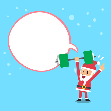 weight training: Cartoon santa claus doing weight training with white speech bubble Illustration