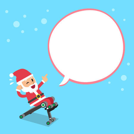 Cartoon santa claus using sit up bench with white speech bubble