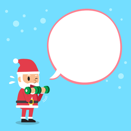 bicep curls: Cartoon santa claus doing dumbbell bicep curls training with white speech bubble Illustration