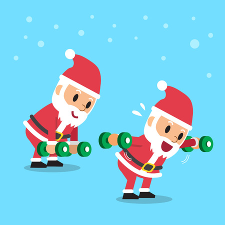 Cartoon santa claus doing dumbbell bent over lateral raise exercise step training Illustration