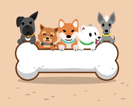 Cartoon dogs and big bone